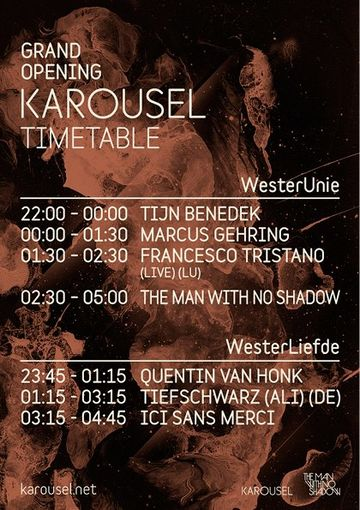 2013-03-22 - Karousel Club Night - Grand Opening, Westerunie, Timetable.jpg