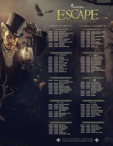 2014-1X - Escape All Hallow's Eve, NOS Event Center, Timetable.jpg