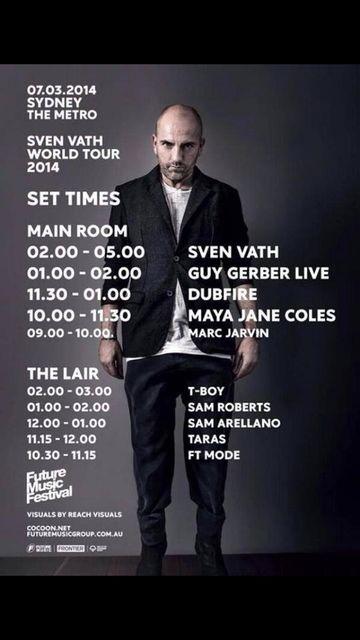 2014-03-07 - World Tour 2014, The Metro Theatre, Timetable.jpg