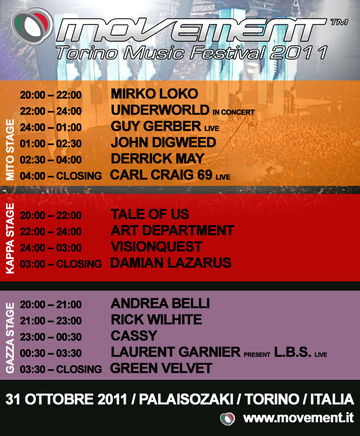2011-10-31 - Movement Torino Music Festival, Time table.jpg