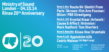 2014-10-04 - 20 Years Rinse, Ministry Of Sound.png